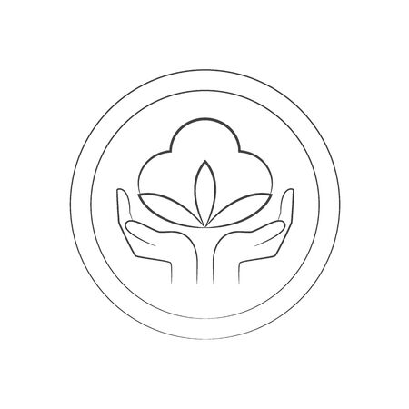 Outline icon of hands and plant image design Vettoriali
