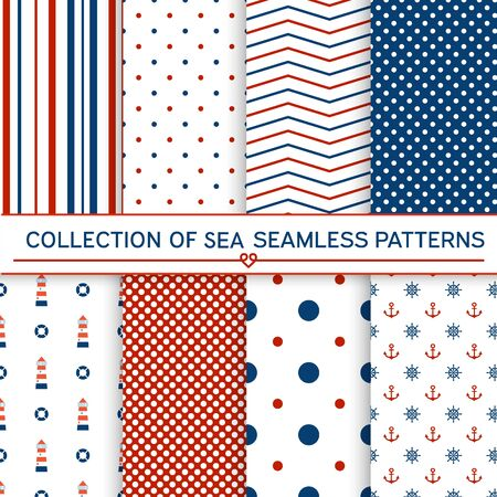 Collection of sea seamless patterns