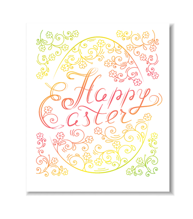 Beautiful happy Easter card with lettering and egg illustration.