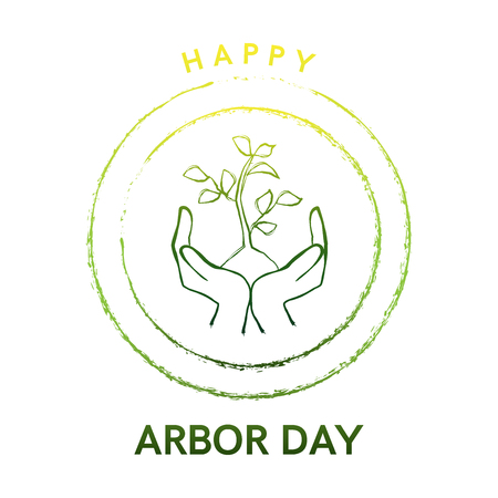 Arbor Day logo with tree and hands