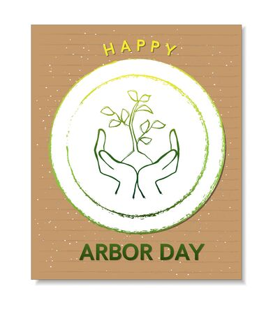 Arbor Day card with hands and tree