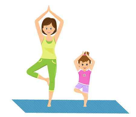 Mom and daughter doing yoga Vectores