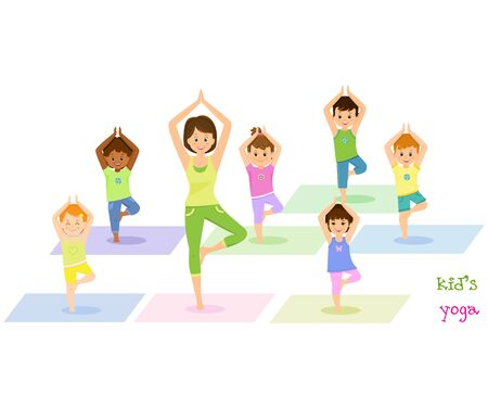 Children do yoga with a yoga instructor.Isolated on white background. Vector illusrtation