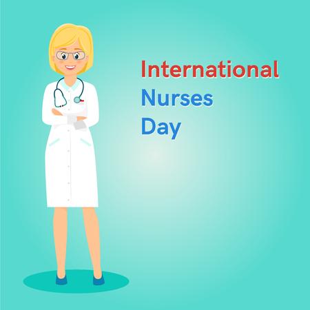 International Nurses Day card or banner.Vector illusrtation