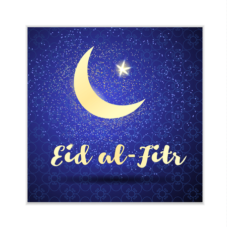 Eid al-Fitr card with a crescent and a star. Vector background