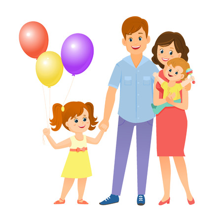 Happy family concept in cartoon Illustration.
