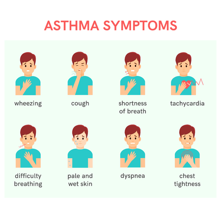 Asthma symptoms. Vector illustration.