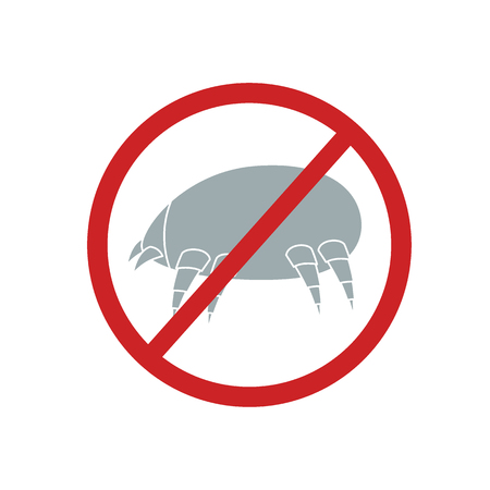 Dust mite illustration with a sign is forbidden