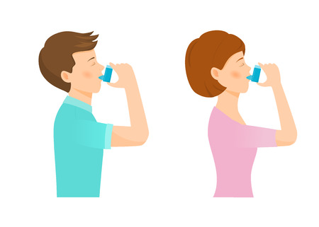 Woman and man use an inhaler. Vector illustration. Isolated on white backround