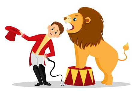Dessin animé, lion, dompteur, met, sien, tête, dans, les, mâchoires, de, les, lion., Isolé, blanc, arrière-plan., Ligne, art, design., Vecteur, illustration Vecteurs