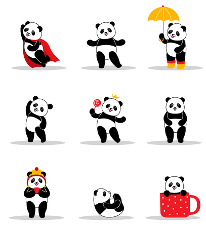 Set of cartoon funny pandas. Design element for baby shower card, scrapbook, invitation, baby goods and childish accessories. Isolated on white background. Vector illustration.
