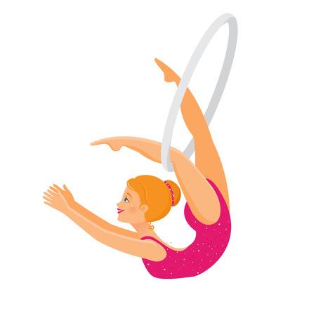 Show im Zirkus. Mädchenakrobatin führt einen Trick am Ring aus
