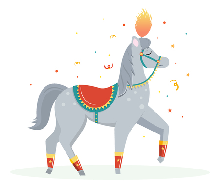 Cartoon circus horse performs a pace. Circus performer.Vector illustration. Cartoon flat style. 向量圖像