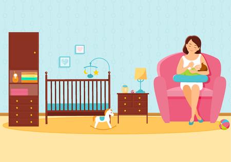 Mother feeds her baby in baby room. Mother and baby. Breastfeeding.Vector illustration. Standard-Bild - 112350706