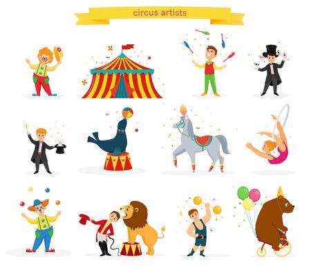 Een set gekleurde circusartiesten. Circusartiesten voeren trucs uit. Platte cartoonstijl. vector illustratie Vector Illustratie
