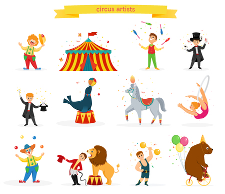 Eine Reihe von farbigen Zirkusartisten. Zirkusartisten führen Tricks durch. Flacher Cartoon-Stil. Vektor-Illustration Vektorgrafik