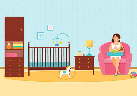 Mother feeds her baby in baby room. Mother and baby. Breastfeeding.Vector illustration.
