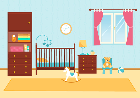 Cute children room with furniture. Baby room Stock Vector - 123628362