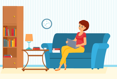 Woman on a sofa with leptop. Vector illustration.