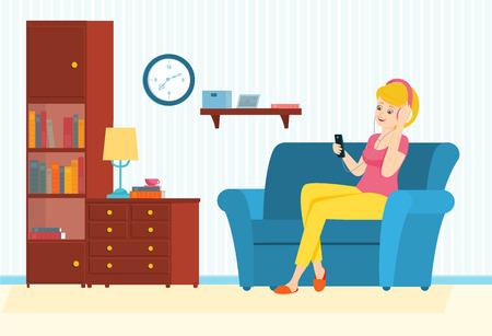 Woman listen to music on headphones.Woman enjoy music. Vector illustration.