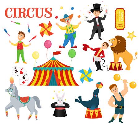 Un ensemble d'artistes de cirque colorés. Les artistes de cirque effectuent des tours. Style cartoon plat. Illustration vectorielle