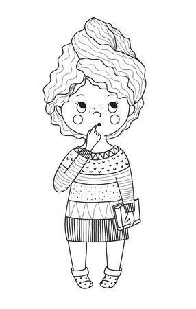 Girl thouhgtful.Doodle style. Line art.
