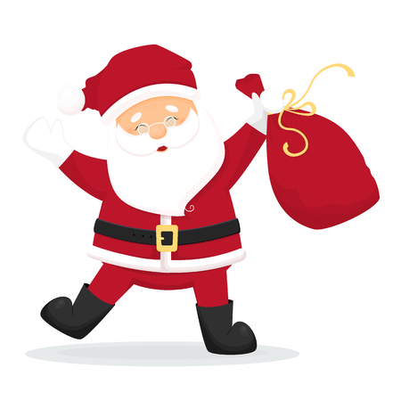 Dancing cartoon Santa Claus with bag with presents.l. Isolated on white background. Vector illustration