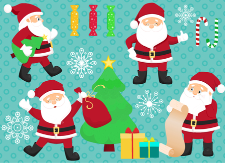 Chrismas set with Santa Clauses, candies, gift boxes and christmas tree. Vector illustration