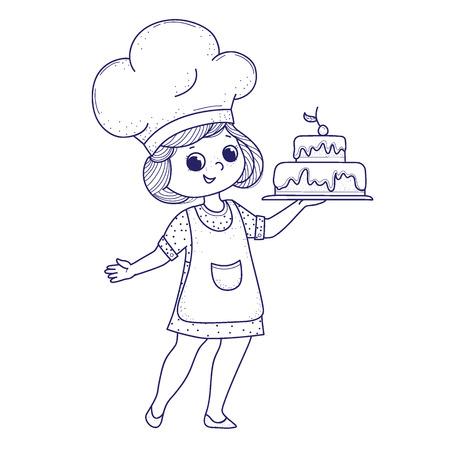 Słodkie dziewczyny do kolorowania książki. Dziewczyna piecze ciasto.Projekt sztuki linii.Na białym tle.Ilustracja wektorowa Ilustracje wektorowe