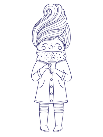 Cute girl for coloring book.Girl in an autumn coat with a drink in hand. Line art design.Isolated on white background.Vector illustration Illusztráció