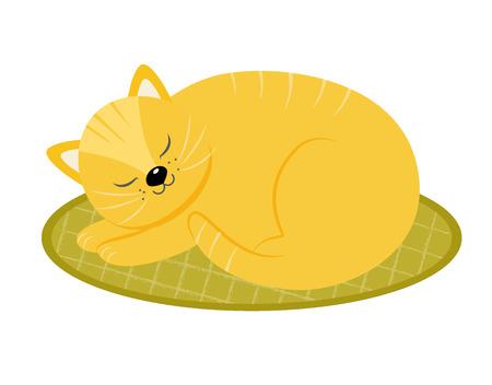 Red cat sleeping on the rug. Cartoon style.Isolated on white background.Vector illustration Illusztráció