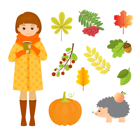 Autumn set with girl, hedgehog and leaves.Cartoon style.Isolated on white background.Vector illustration