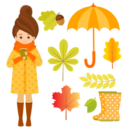 Autumn set with girl, hedgehog and leaves 일러스트