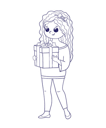 Cute girl for coloring book.Girl holding a box with a gift.Line art design.Isolated on white background.Vector illustration