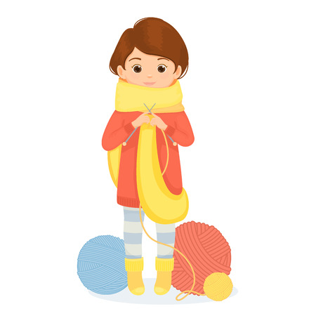 Cheerful woman knits a scarf.Vector illustration. Isolated on white background