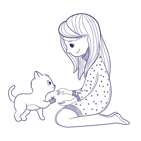 Girl bandages a cat paw.Line art design.Isolated on white background.Vector illustration Illusztráció