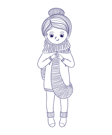 Girl knits a long scarf.Line art design.Isolated on white background.Vector illustration