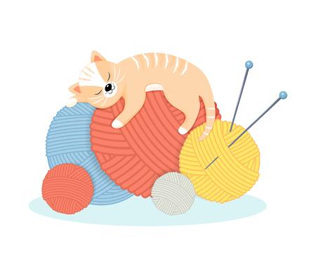 Funny cartoon cat lies with pleasure on the balls of yarn.Vector illustration.Cartoon style