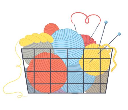 Basket with multi-colored balls of yarn and knitting needles. Vector illustration.Cartoon style Illusztráció
