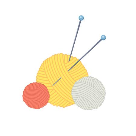 Three colored cartoon balls of yarn with knitting needles. Elements are easy to move. Vector illustration.Cartoon style Illusztráció