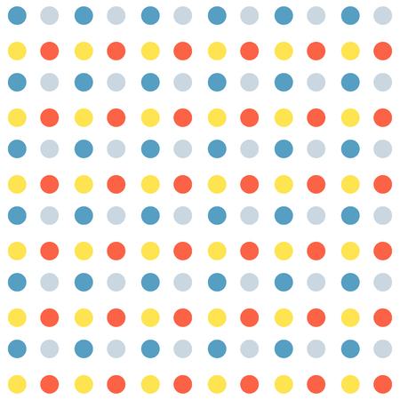 Nahtloses Muster mit Punkten. Muster im Musterfeld enthalten. Vektor-Illustration. Weißer Hintergrund.