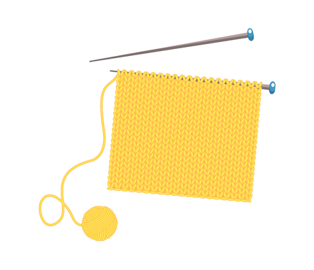 knitted fabric on the needles.Vector illustration. Isolated on white background.Cartoon style