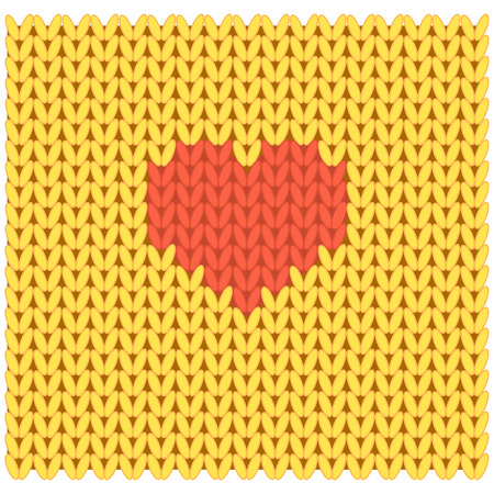 Knitted fabric with heart in the middle..Vector illustration. Isolated on white background.Cartoon style Stock Photo