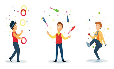 Three cartoon jugglers performs a circus trick.