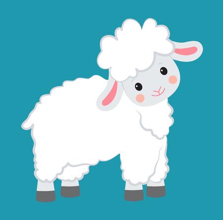Biała owca siedzi. Styl kreskówki. Ilustracja wektorowa Ilustracje wektorowe