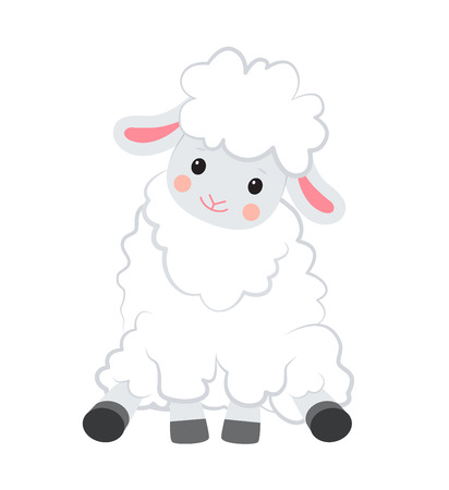 White sheep sits. Cartoon style. Vector illustration