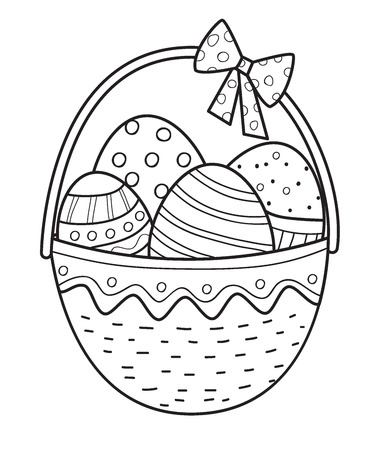 Easter basket ouline with eggs. Coloring page.Vector illustration.Hand drawn elements