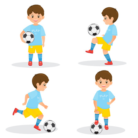 Set of boys soccer players in uniform with a soccer ball. 向量圖像