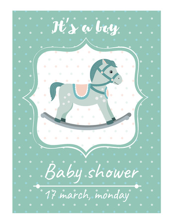 Invitation baby shower card with rocking horse.Card with place for your text.Vector illustration Illustration