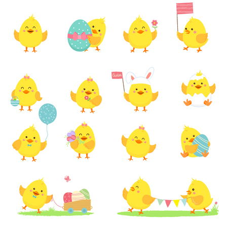 Set of vector yellow chickens. Vector illustration.Isolated on white background.Cartoon flat style Illustration